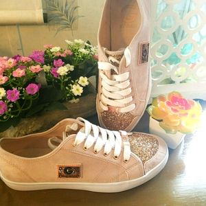 Guess Blush Suede Sneaker with Rosegold Bling